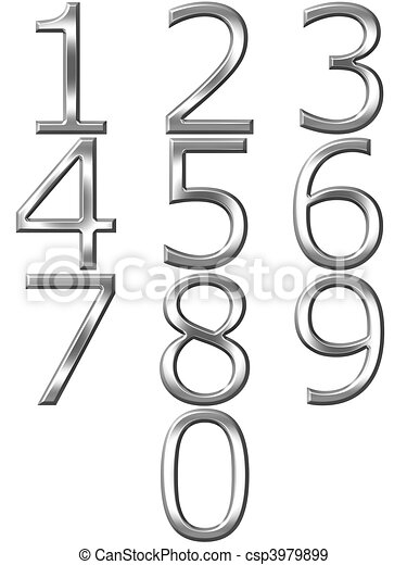 3D Silver Numbers  - csp3979899