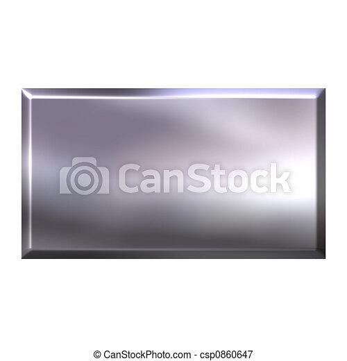 3D Silver Square Button - csp0860647