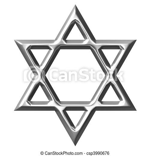 3D Silver Star of David - csp3990676