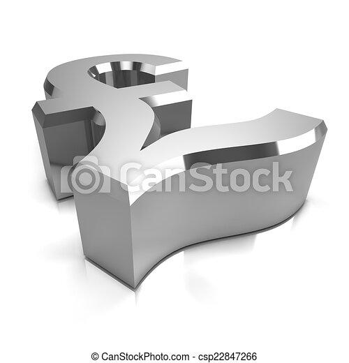 3d Silver Uk Pounds Sterling Symbol 3d Render Of A Silver Uk Pounds