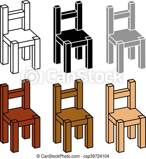 simple wooden chair. 3d simple wooden chair black symbol csp39724104