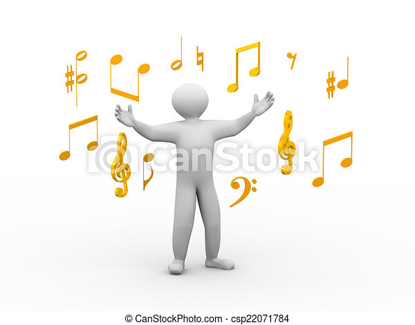 3d singing person with musical notes - csp22071784