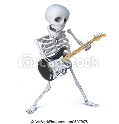 3d Render Of A Skeleton Striking Cool Pose While Playing His Electric Guitar