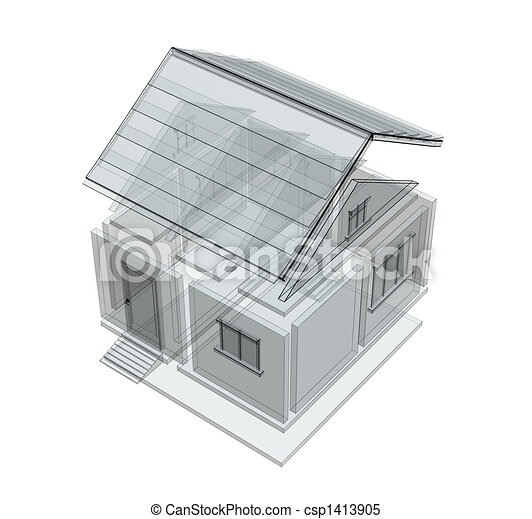 3d sketch of a house - csp1413905