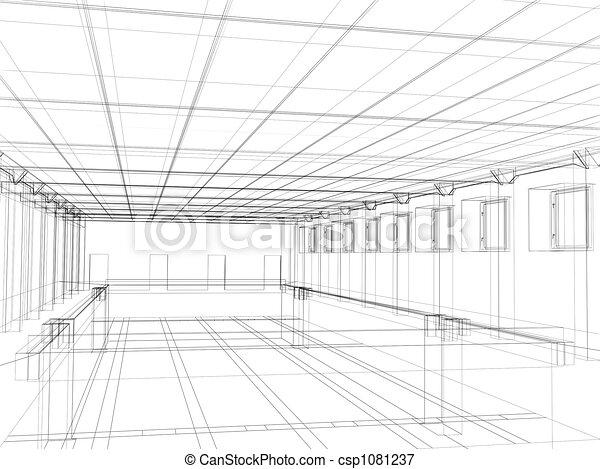 3d sketch of an interior of a public buildin - csp1081237