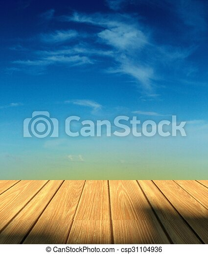 3d Sky Background And Wood Floor With Empty Space