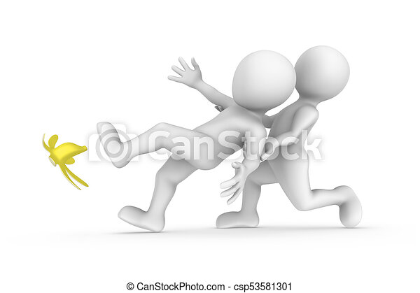 3d slipping man and friend. Help concept. - csp53581301