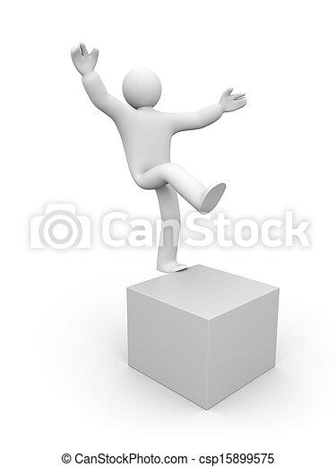 3d small man balancing on one leg - csp15899575