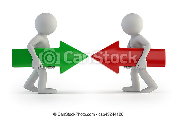 3d small people - against each other - csp43244126