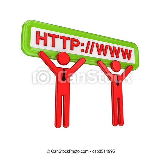 3d small people and internet symbols. - csp8514995