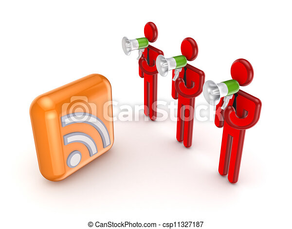 3d small people and RSS symbol. - csp11327187