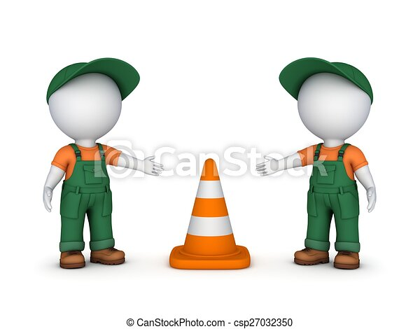 3d small people and traffic cone. - csp27032350