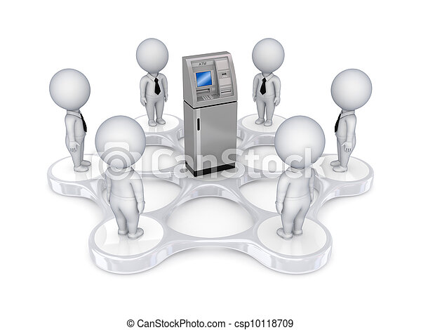 3d small people around ATM - csp10118709