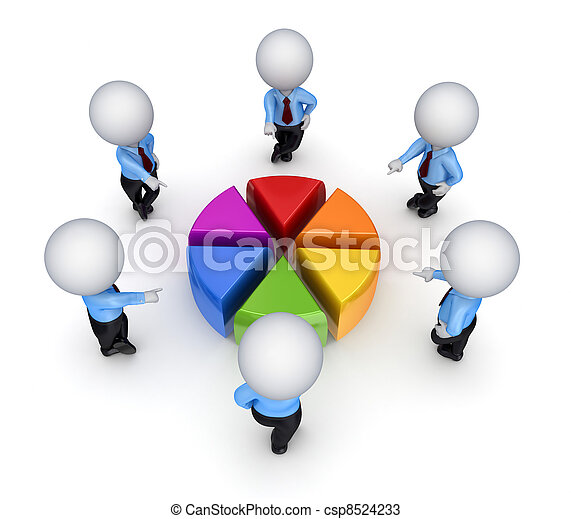 3d small people around colorful graph. - csp8524233