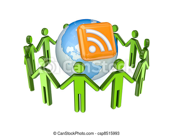 3d small people around globe and RSS symbol. - csp8515993