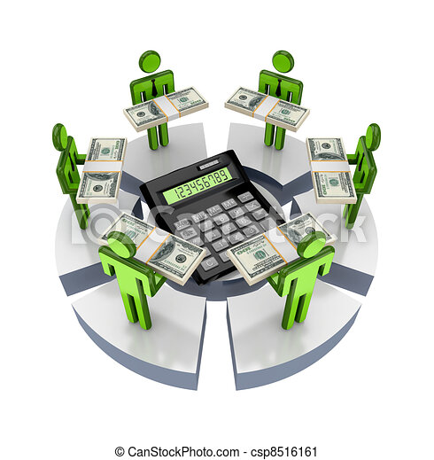 3d small people around large calculator. - csp8516161