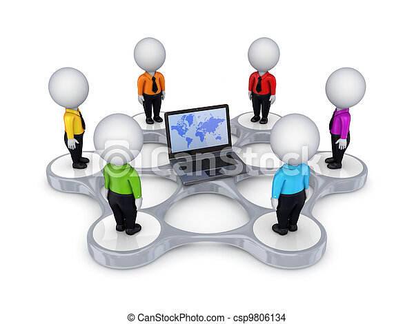 3d small people around notebook. - csp9806134