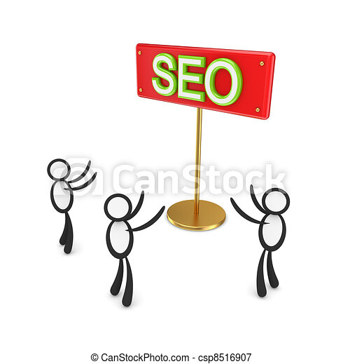 3d small people around red bunner with a word SEO. - csp8516907