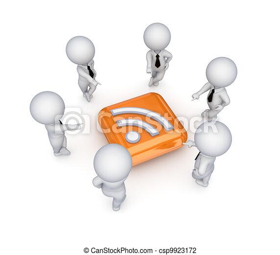 3d small people around RSS symbol. - csp9923172