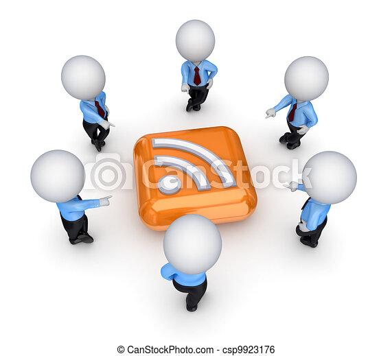 3d small people around RSS symbol. - csp9923176