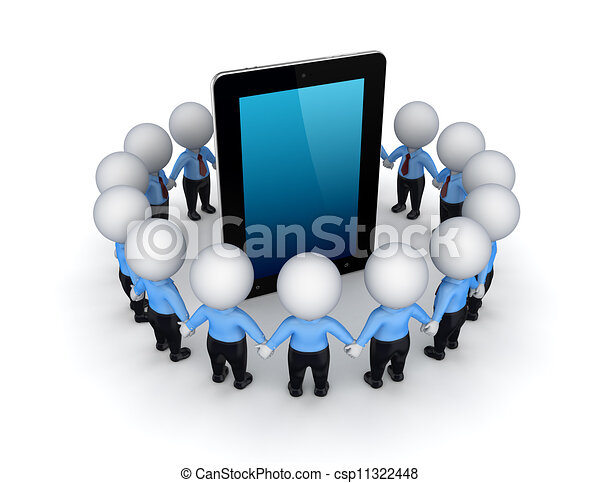 3d small people around tablet. - csp11322448
