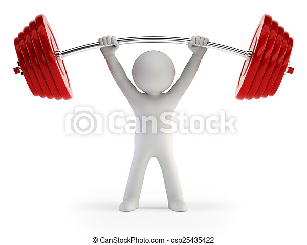 3d small people - Athlete lifting weights - csp25435422