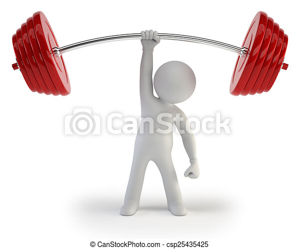 3d small people - Athlete lifting weights - csp25435425