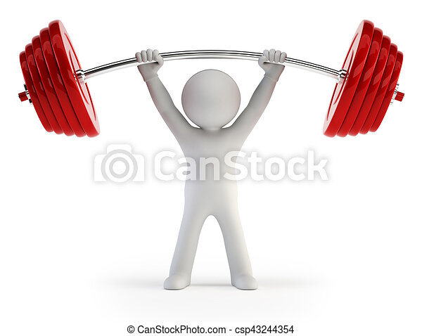 3d small people - Athlete lifting weights - csp43244354