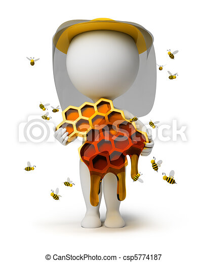 3d small people - beekeeper - csp5774187