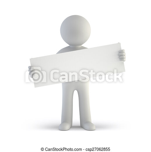 3d small people - blank white board - csp27062855