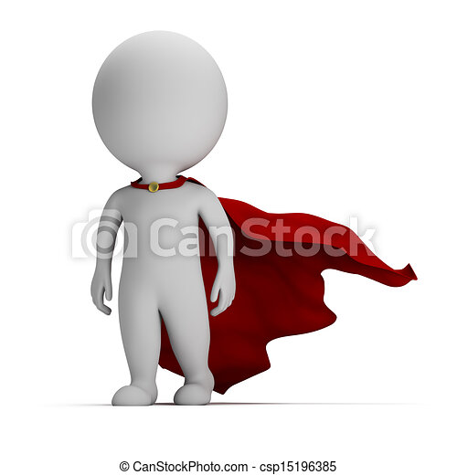 3d small people - brave superhero - csp15196385