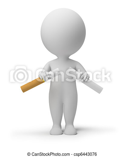 3d small people - breaking cigarette - csp6443076