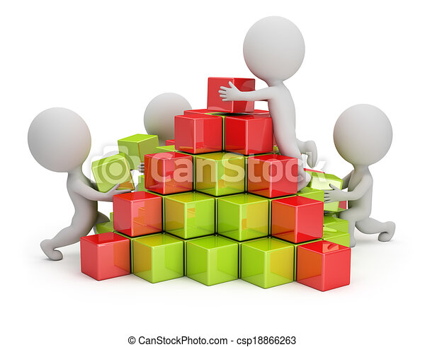 3d small people - business pyramid - csp18866263