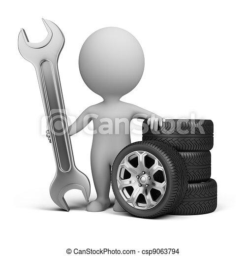 3d small people - car mechanic - csp9063794