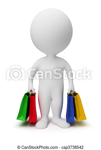 3d small people - carry shopping bags - csp3738542