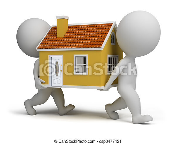 3d small people carrying home - csp8477421
