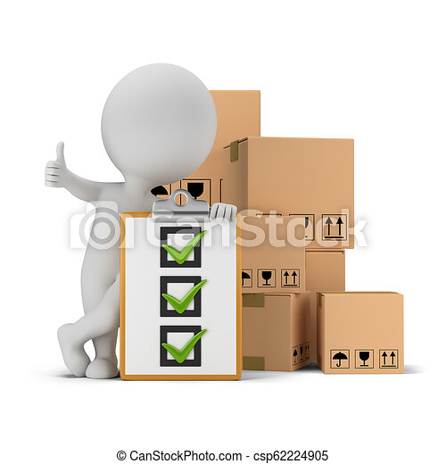 3d small people - checklist and boxes - csp62224905