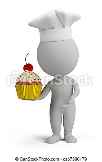 3d small people - confectioner with cupcake - csp7390179