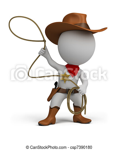 3d small people - cowboy - csp7390180