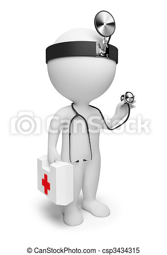 3d small people - doctor - csp3434315