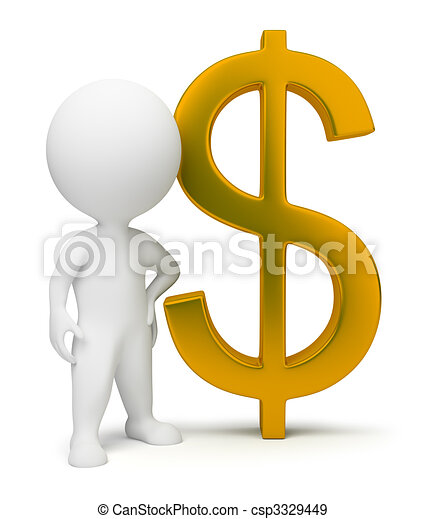 3d small people - dollar sign - csp3329449