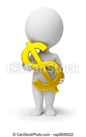 3d small people - dollar symbol in hands - csp5838322