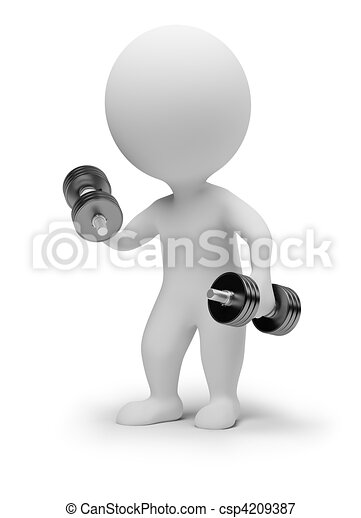 3d small people - dumbbells - csp4209387