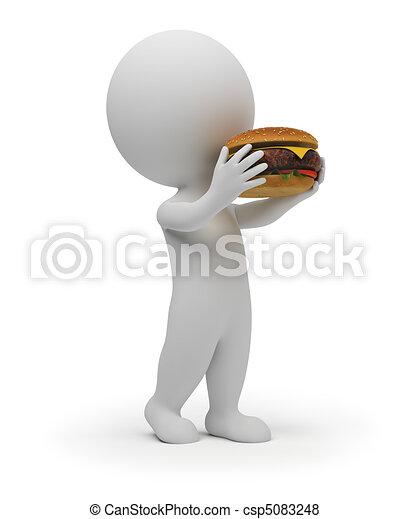 3d small people eats a hamburger - csp5083248