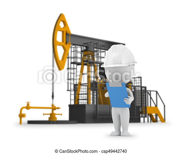 3d small people - engineer petroleum - csp49442740