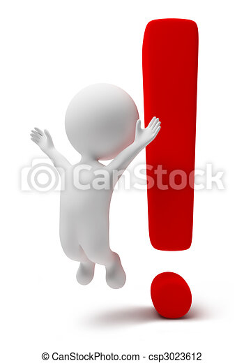 3d small people-exclamation mark - csp3023612