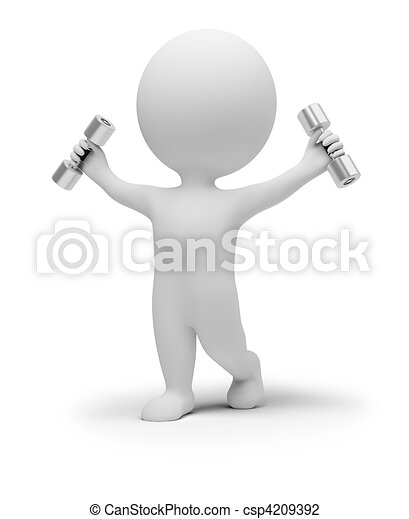 3d small people exercises with dumbbells - csp4209392