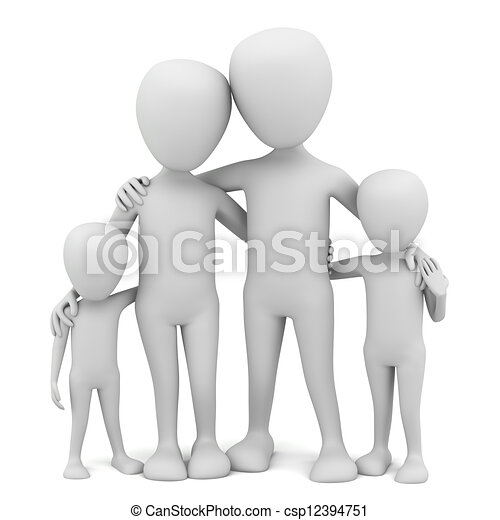 3d small people - family. - csp12394751