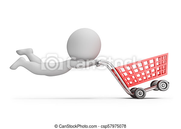 3d small people - fast shopping cart - csp57975078