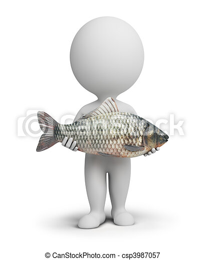 3d small people - fisherman and fish - csp3987057